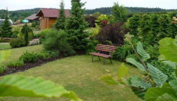 zahrada s terasou u jezírka